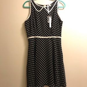LC Lauren Conrad black white polka dot dress sz 12